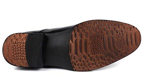 Hombres Negocio Con cordones Cuero Vestir Zapatos Formal marrón Negro Boda Punta puntiaguda Oxfords Plano tamaño 38-45 Black