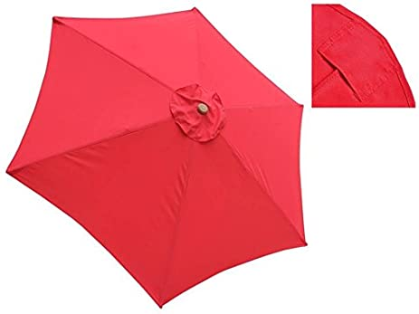 JTW 9 FT Outdoor Waterproof Patio Umbrella Replacement Polyester Canopy Top  Cover 6 Ribs UV