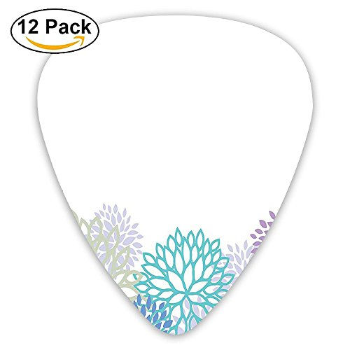 Newfood Ss Floral Abstract Backdrop With Flourishing Curving Petals Summer Guitar Picks 12/Pack Set