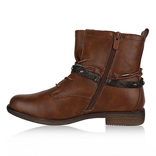 Stiefelparadies Damen Schnürstiefeletten Blockabsatz Boots Stiefeletten Zipper Booties Spitze Häkeloptik Leder-Optik Schuhe Übergrößen Flandell Hellbraun Autol