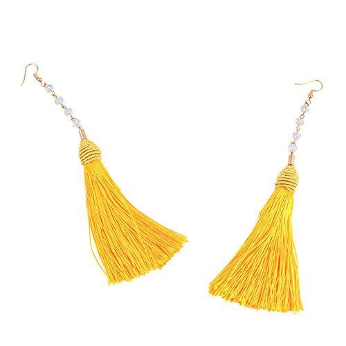 Wintefei Handmade Tassel Dangle Handcraft Braid Long Hook Earrings Lady Fashion Eardrop Jewelry - Yellow - Braid Yellow Earrings
