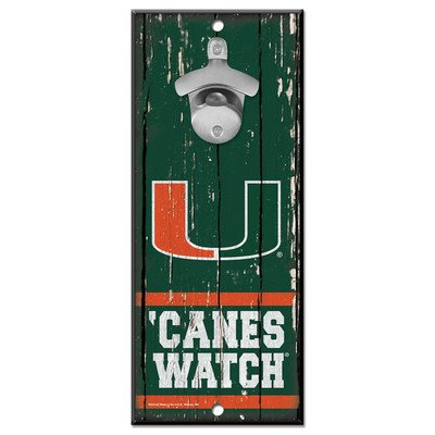 University of Miami Wooden Wall Mounted Bottle Opener (Miami Hurricanes Sign)