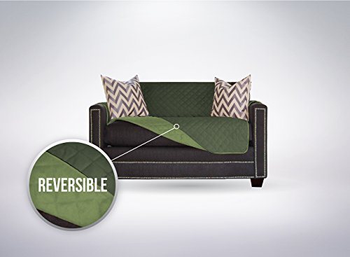 The Original SOFA SHIELD Reversible Furniture Protector, Features Elastic Strap (Chair and a Half: Hunter Green/Sage) (Chair And A Half Covers)