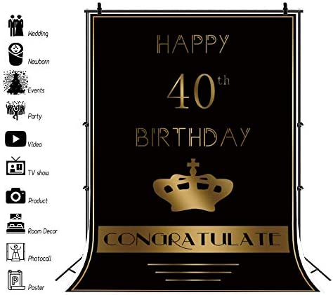Yeele 40th Backdrop 4x6ft Forty Year Old Birthday Party Photography Background Lady Gentlemen Artistic Portrait Event Party Decoration Photoshoot Studio Props Photo Booth Banner