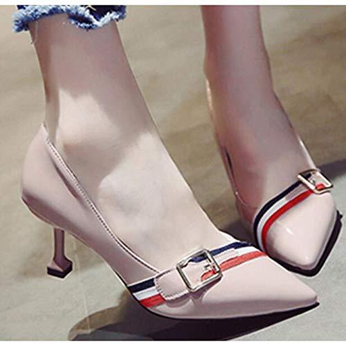 Pink Heels Comfort Shoes Polyurethane amp; Women's Spring Almond ZHZNVX Stiletto Black Pump Basic Fall PU Almond Heel q46xU