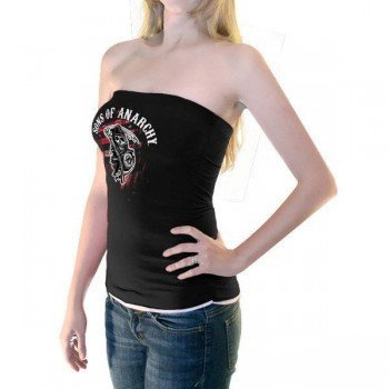 Sons Of Anarchy Reaper Black   White Juniors Tube Top  Juniors Small