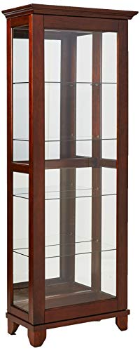 5-Shelf Curio Cabinet with Mirrored Back Chesnut - French Country Oak Armoire