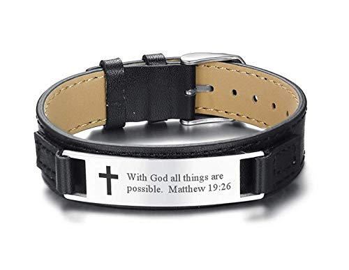 Religious Leather - MPRAINBOW Men's Leather Bracelets Engraved with Inspiring Bible Verse Quote,Christian Religious Jewelry Adjustable