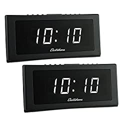 Electrohome 1.8 Jumbo LED Alarm Clock Radio with Battery Backup, Auto Time Set, Digital AM/FM Tuner, Dual Alarm, Indoor Temperature & 4 Dimming Options - 2 Pack