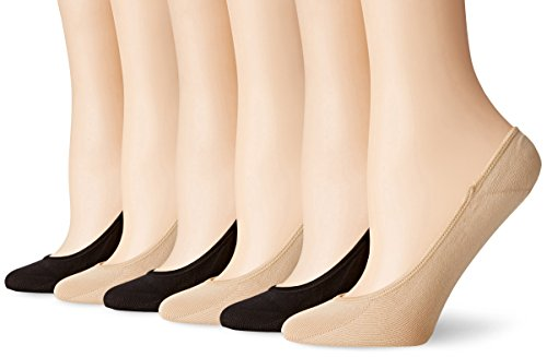 PEDS Women's Ultra Low Microfiber Liner with Gel Tab - 6 Pairs, Black/Nude, Shoe Size (Womens Footies)
