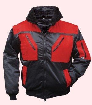 Winterjacke Tokapi, 4 in 1 Multifunktions-Pilotjacke, schwarz/rot Gr. S - XXXL
