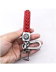Key Rings Kompatibel med Alfa-Romeo- Giulia Stelvio Mito ALFA Biltillbehör Business Läder Flätad Röd Key Ringrope Keychain