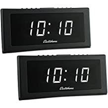 """Electrohome 1.8"""" Jumbo LED Alarm Clock Radio with Battery Backup, Auto Time Set, Digital AM/FM Tuner, Dual Alarm, Indoor Temperature & 4 Dimming Options - 2 PACK"""