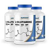 Nutricost L-Glutamine 800mg, 180 Capsules (3 Bottles)