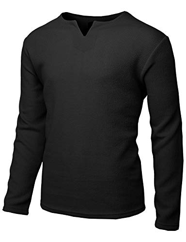 H2H Mens Casual Slim Fit Long Sleeve T-Shirts V-Neck Knitted Shirts Black US L/Asia XL (KMTTL477) by H2H