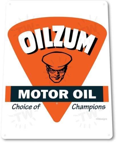 Metal tin Sign 8x12 inches TIN Sign Oilzum Motor Oil Tin Metal Sign Gas Station Garage Oil Decor - Motor Oil Tin
