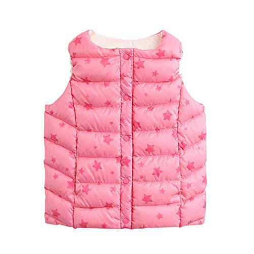 marc janie Girls Boys' Lightweight Packable Down Puffer Vest Pink Stars 3 Years