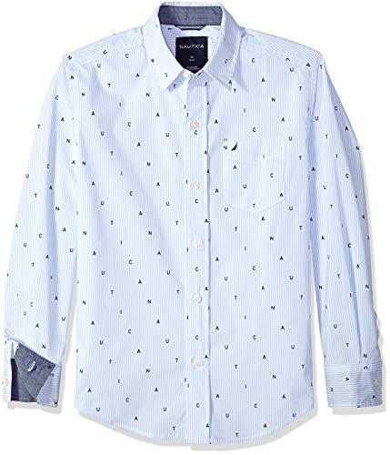 - Nautica Boys' Big Long Sleeve Printed Woven Shirt, Wyatt Light Blue Stretch, Large (14/16)