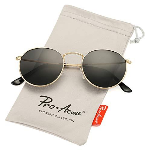Pro Acme Small Round Metal Polarized Sunglasses for Women Retro Designer Style (Gold Frame/Smoke Lens)