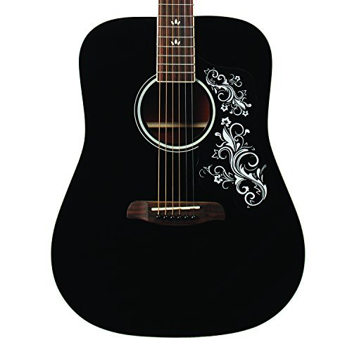Sawtooth ST-ADN-BLK-D Acoustic Guitar with Black Pickguard & Custom Graphic by Rise by Sawtooth