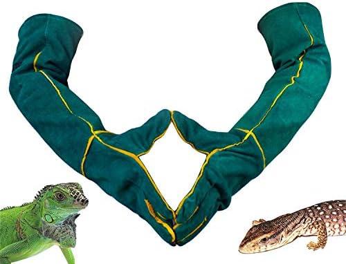 MLQ Extra Lange Tier-Anti-Biss-Kratzhandschuhe Reptile Anti-Scratch-Handschuhe Rindsleder Strapazierfähiger Ärmel Sichere und haltbare Handschuhe gegen Reptil Cat Dog Snake