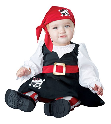 California Costumes Baby Girls' Petite Pirate Infant, Black/White/red, 12 to 18 Months -
