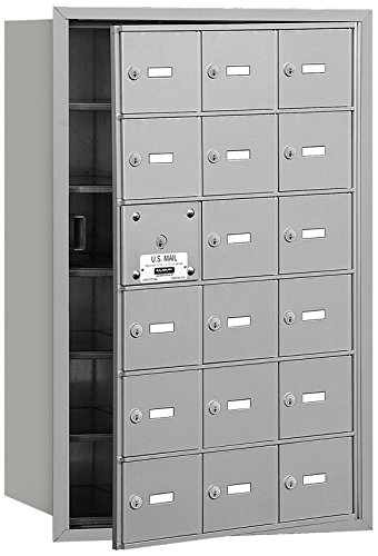 Salsbury Industries 3618AFP 4B Plus Horizontal Mailbox with Master Commercial Lock, 18 A Doors 17 Usable, Front Loading, Private Access, Aluminum
