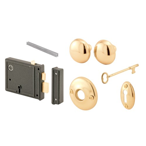 Prime-Line Products E 2478 Horizontal Trim Lock Set, 3-3/8 in. Backset, Cast Steel w/Brass Plated Knobs, Keyed Alike, Pack of 1 Set