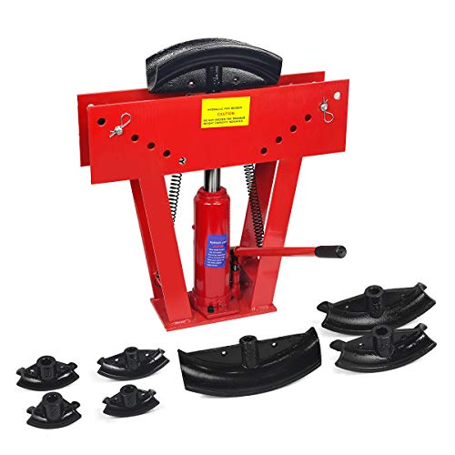 XtremepowerUS 12 Ton Heavy Duty Hydraulic Tube Bender 180 Degree Tubing Metal Steel Iron Exhaust Pipe Bending with 6 Dies
