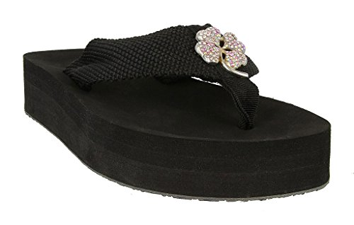 Belts.com Western Cowgirl Womens Rose Crystal Rhinestone Flip Flop Sandals Black Size 7 X1s5cu3xp