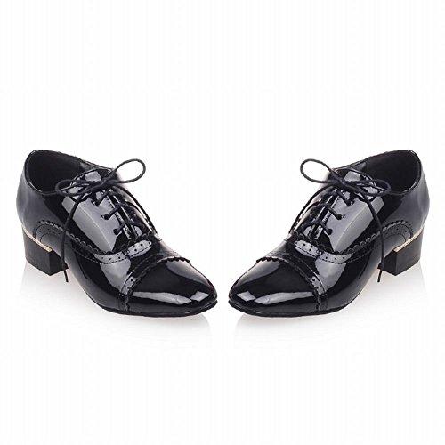Latasa Damesmode Vierkante Neus Lace-up Mid Dikke Hak Oxford Schoenen Zwart