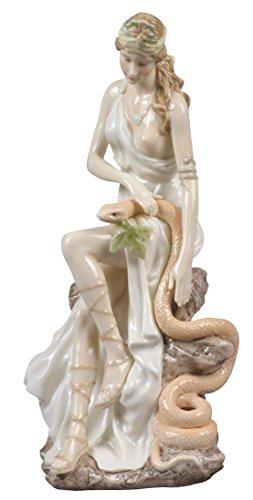 8 Inch Glazed Porcelain Hygeia Greek Goddess of Hygiene with (Goddess Porcelain)