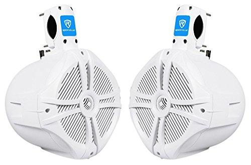 "Pair Rockville RWB80W 8"" White 2 Way 600 Watt Marine"