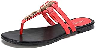 Shukun Tongs Femme Chaussures pour Femmes d'été Pinch Metal Sand Toe Flat Sandals