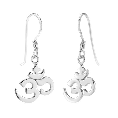 925 Sterling Silver Yoga Om Aum Ohm India Symbol Dangle Earrings