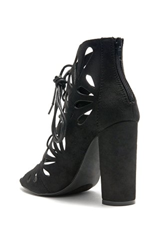 HerStyle Womens Sbbicca laser cut heeled booties Black wQh68SalU9