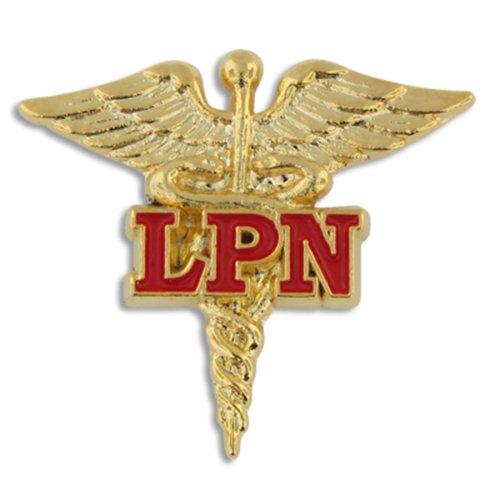PinMart Licensed Practical Nurse Red LPN Caduceus Lapel Pin