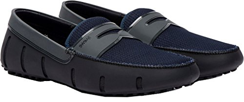 SWIMS Mens Penny Loafer Driver Black Shine Double Thread 7vAgovsS