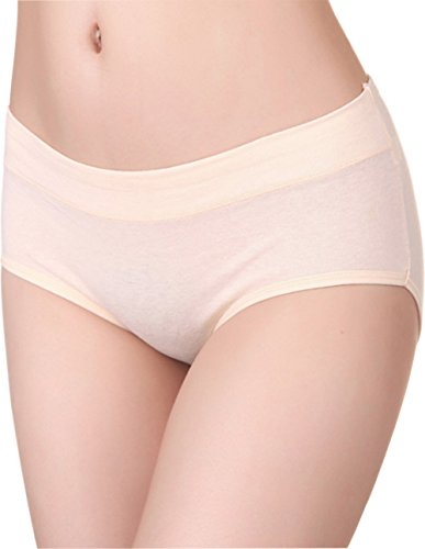 HOEREV Womens Comfort Middle Waist Bamboo Fiber Brief Panty, Pack of 3,Beige,Medium-tag size XL