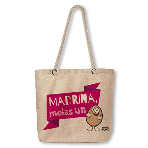Bolsa de Tela con Asas de Cuerda. Madrina, molas un Huevo. 46x37 cm.