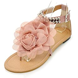 Foresightrade@ Summer Beach Women Strappy Braided Beaded Sandals Flats Thongs Shoes for Ladies (US9/EUR43, Pink)