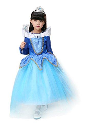 YMING Girls Blue Birthday Party Dress Up Halloween Costume 2-3 Years