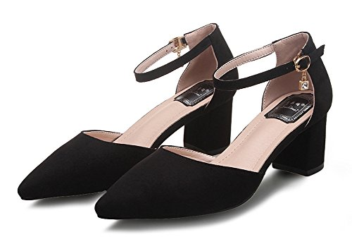 Aisun Womens Sexy Pointed Toe Buckled Ankle Wrap Dress Pumps Heeled Sandals Block Kitten Heels Shoes With Ankle Straps Black 5AlhkQ