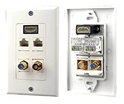 Pyle Home PHDM2RJRF1 HDMI/Mono RCA Audio/Coaxial/Dual Ethernet Combo Wall Plate