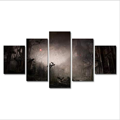 KTFBH Living Room Canvas Painting Five Consecutive Paintings Modern Decorative Painting Dark Castle Picture Canvas Mural Art Office Living Room Bedroom Home Decoration-Framed ()