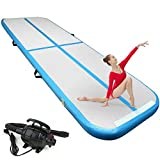 FBSPORT 4 inches Thickness airtrack, 13.12ft Tumble Track air mat for Gymnastics Training/Home Use/Cheerleading/Yoga/Water with Electric Pump