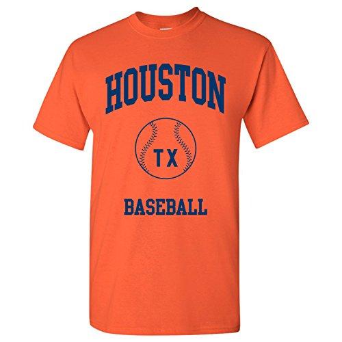 Houston Classic Baseball Arch - Stadium, Jersey Team Sports, Batter, Pitcher T-Shirt - Small - Orange - Houston Astro Stadium