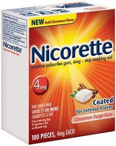 Nicorette Gum 100 Pieces 4mg Cinnamon Surge Flavor