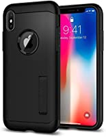 Capa Spigen para iPhone X, Spigen Slim Armor [Mil-Grade][Air Cushion], Apple iPhone X (Black)