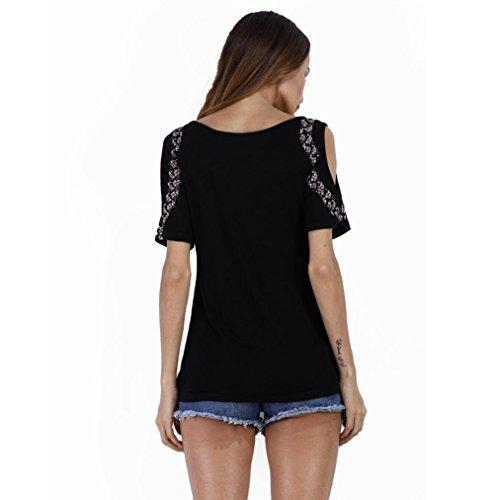 Imprimer Blouse Tops T shirt été courtes chemise Tefamore ❤️Femmes Noir manches UPxpO